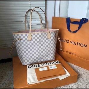 Louis Vuitton Neverfull MM Damier Azur Rose Bal